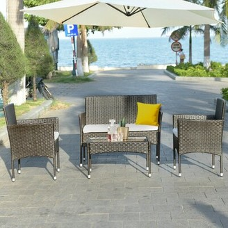 Breakwater Bay Bieber 4 Piece Rattan Sofa Seating Group with Cushion