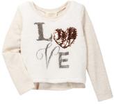 Hannah Banana Faux Fur Love Long Sleeve Top (Toddler & Little Girls)