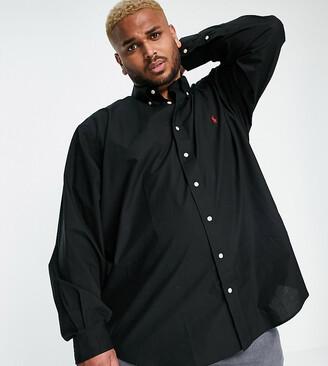 Polo Ralph Lauren Big & Tall player logo poplin shirt custom regular fit in black