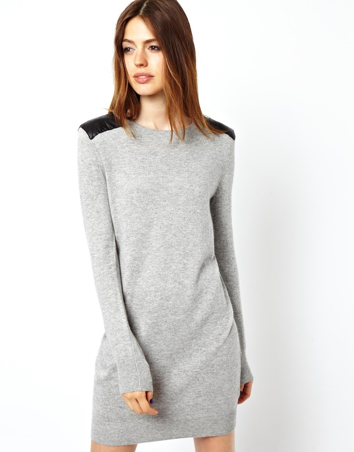 Asos Sweater Dress With Leather Look Shoulders