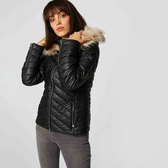 Morgan Short Hooded Padded Jacket in Faux Leather