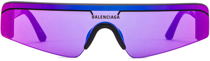 Balenciaga Sunglasses in Shiny Black & Violet | FWRD