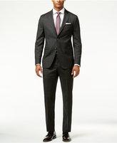 DKNY Men's Black Soft Mini-Grid Slim-Fit Suit