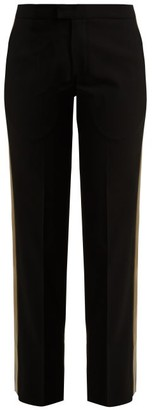 Wales Bonner Mid-rise Tailored Wool-blend Trousers - Womens - Black Multi