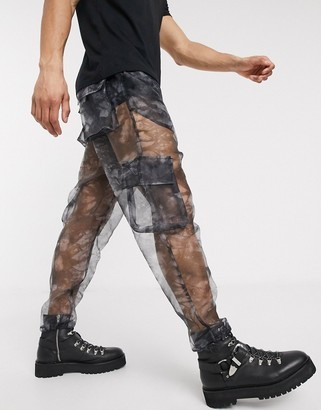 ASOS DESIGN tapered sheer cargo joggers in abstract print