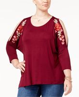 Eyeshadow Trendy Plus Size Cold-Shoulder Top