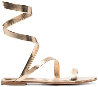 Gianvito Rossi Metallic Wrap-Around Sandals