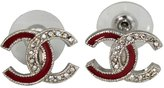 Chanel Cc Logos Pierced Earrings W/rhinestone A97531