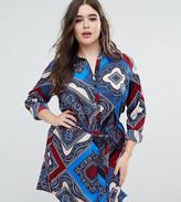 AX Paris Plus Shirt Dress In Scarf Print