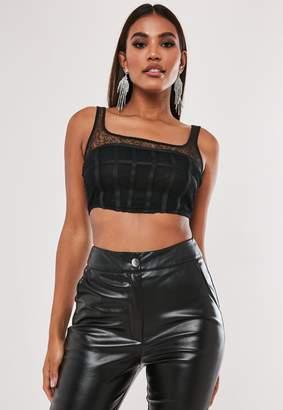 Missguided Petite Black Lace Corset Crop Top
