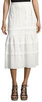 Vilshenko Ruffled Cotton Midi Skirt, White