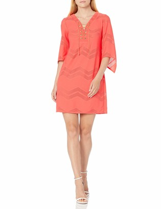 London Times Women's Chevronmesh Knit Tunic with Lace Up Front