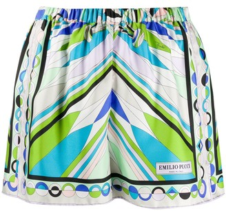 Emilio Pucci Abstract Print Silk Shorts