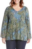 Karen Kane Plus Size Women's Bell Sleeve Paisley Top