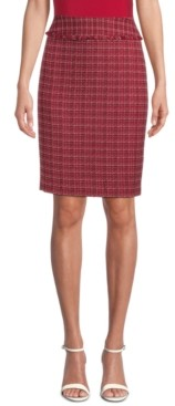 Kasper Tweed Fringed Pencil Skirt, Regular & Petite Sizes