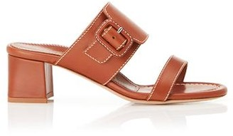 Marion Parke Bree Camel | Leather Block Heel Sandal With Buckle Detail