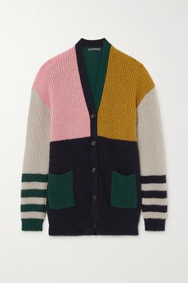 ALEXACHUNG Nora Color-block Ribbed-knit Cardigan - Dark green