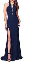 Abbi Vonn by La Femme Lace-Up Deep V-Neck Open-Back Long Dress