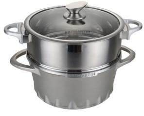 "Amercook Aluminum Round Casserole Pot and Steamer Induction Bottom 10"""