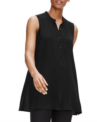 Eileen Fisher Petite Silk Georgette Crepe Sleeveless Mandarin-Collar Shirt