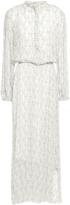 By Malene Birger Gathered Printed Georgette Midi Dress