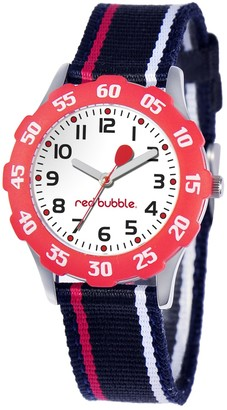 Red Bubble Red-Bubble Watch W002093 Boy's Teaching Quartz White Dial Black Nylon Strap