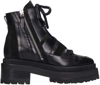Pierre Hardy Alpha Camp Combat Boots In Black Leather