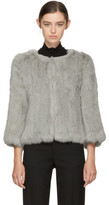 Yves Salomon Grey Knit Fur Liner Jacket