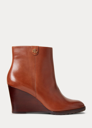 Ralph Lauren Shaley Calfskin Wedge Bootie