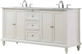 """Direct Vanity Sink Classic 70"""" Double Vanity, Pearl White, Top: Carrara Marble, Without M"""
