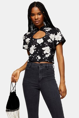 Topshop Womens Black Floral Print Keyhole Blouse - Black