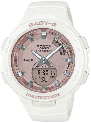 Baby-G BSAB100MF-7A Bluetooth Step Tracker White with Rose Gold Face