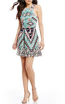 Teeze Me Floral and Chevron Mixed Print Fit-and-Flare Dress