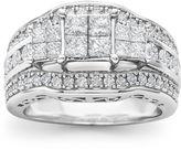 MODERN BRIDE 2 CT. T.W. Princess Diamond 3-Stone Engagement Ring