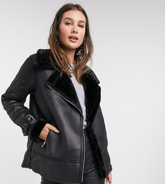 New Look Tall faux fur trim aviator jacket in black