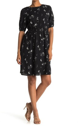 Halogen Blouson Sleeve Floral Print Dress