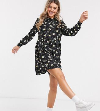 JDY smock dress in floral polka dot
