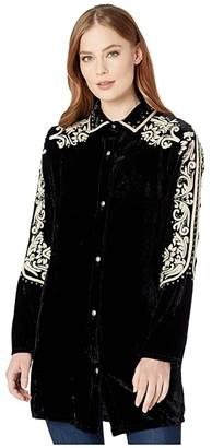 Double D Ranchwear Las Espuelas Top (Black) Women's Clothing