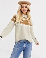 Pieces knitted jumper in beige fairisle print