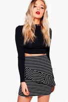 boohoo Aurelia Monochrome Ruffle Front Mini Skirt