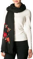 Pure Style Girlfriends Black Floral Embroidered Pom-Pom Scarf