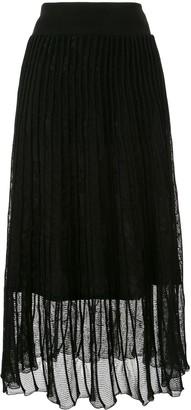Mame Kurogouchi Pleated Knit Midi Skirt