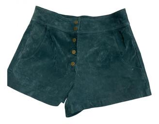 Zara Green Leather Shorts