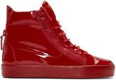 Giuseppe Zanotti Red Patent London High-Top Sneakers