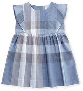 Burberry Gertrude Sleeveless Check Dress, Medium Blue, Size 6M-3