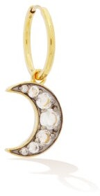 Theodora Warre - Moon Mismatched Crystal & Gold-vermeil Earrings - Womens - Multi