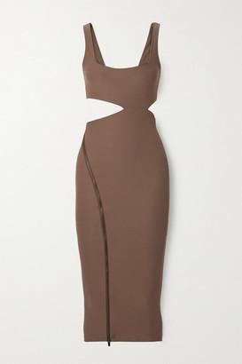 Alix Meadow Asymmetric Cutout Stretch-jersey Midi Dress - Mushroom