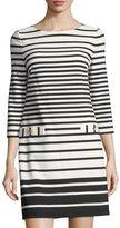 Eliza J 3/4-Sleeve Striped Shift Dress