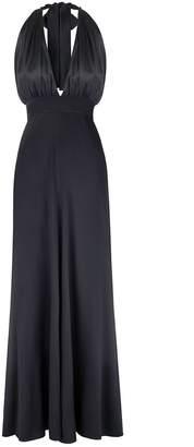 MONICA Nera Marilyn Black Silk Long Dress