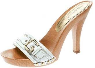 Dolce & Gabbana White Leather Buckle Detail Wooden Clogs Size 38
